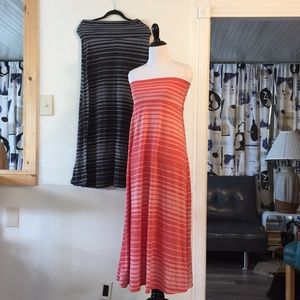 Sleeveless Striped Dress or Maxi Skirt Lot Of 2